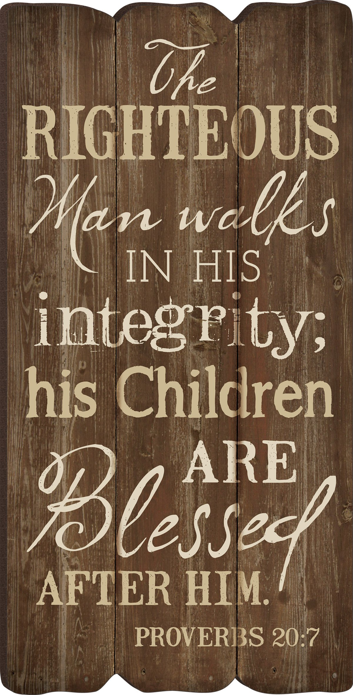 The Righteous Man Proverbs 20:7 Small 12x6 Fence Post Wood Look Wall Art Plaque by P Graham Dunn