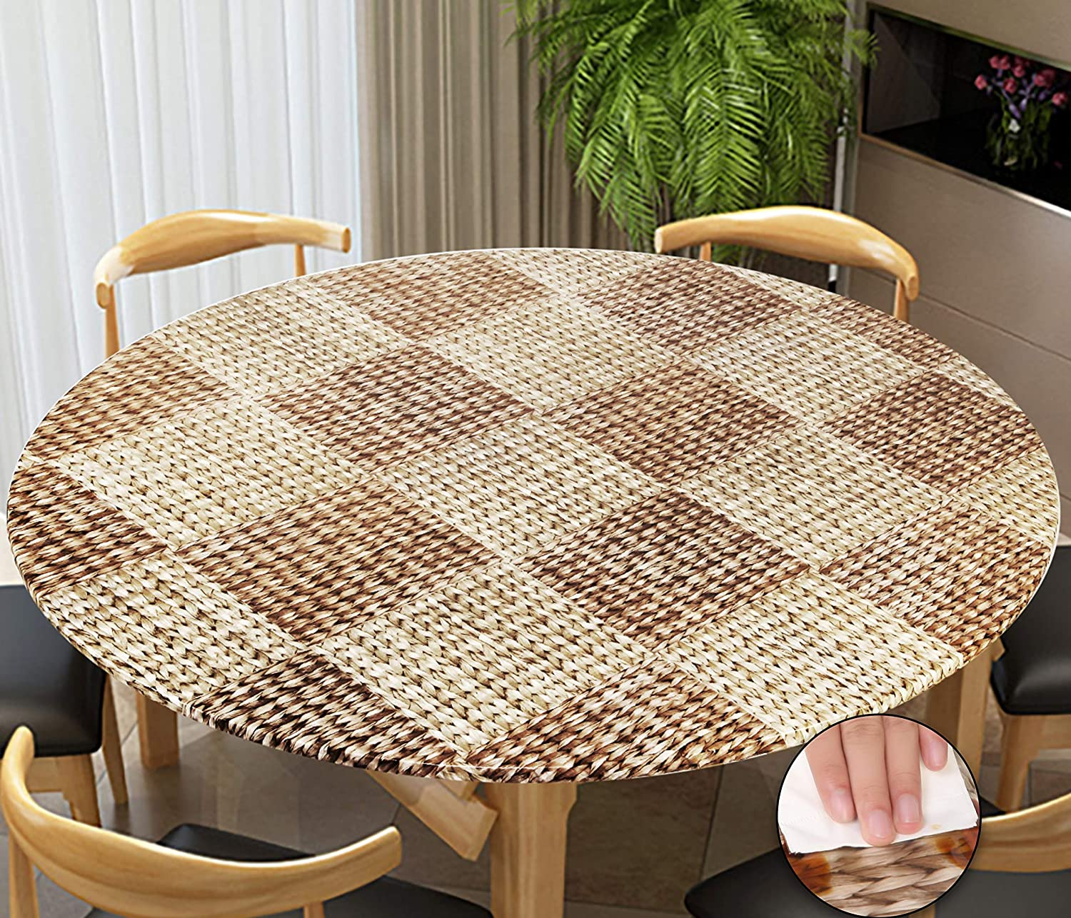 Rally Home Goods Indoor Outdoor Patio Round Fitted Vinyl Tablecloth, Flannel Backing, Elastic Edge, Waterproof Wipeable Plastic Cover, Wicker Pattern for 6-Seat Table of 43-56'' Diameter