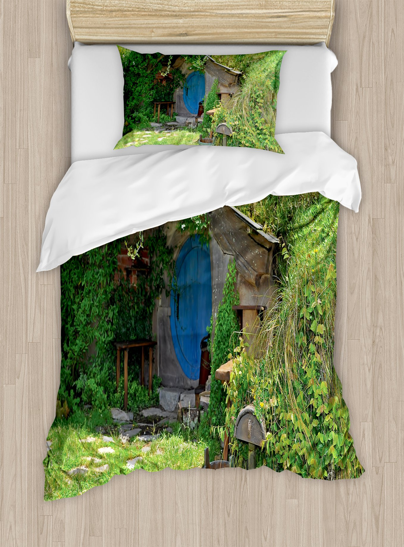 Ambesonne Hobbits Duvet Cover Set Twin Size, Fantasy Hobbit Land House in Magical Overhill Woods Movie Scene New Zealand, Decorative 2 Piece Bedding Set with 1 Pillow Sham, Green Brown Blue