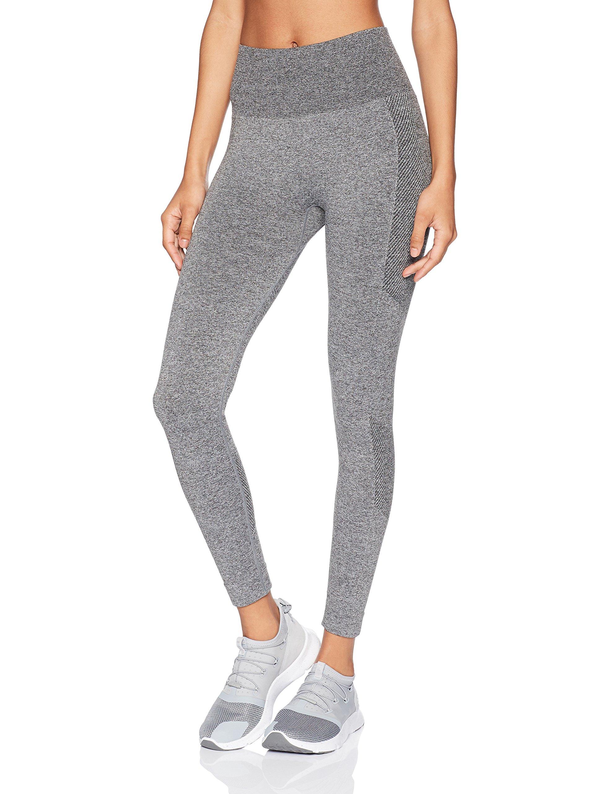 Starter Women's 25'' Seamless Light-Compression Cropped Workout Legging, Prime Exclusive, Iron Grey Jaspe, Medium