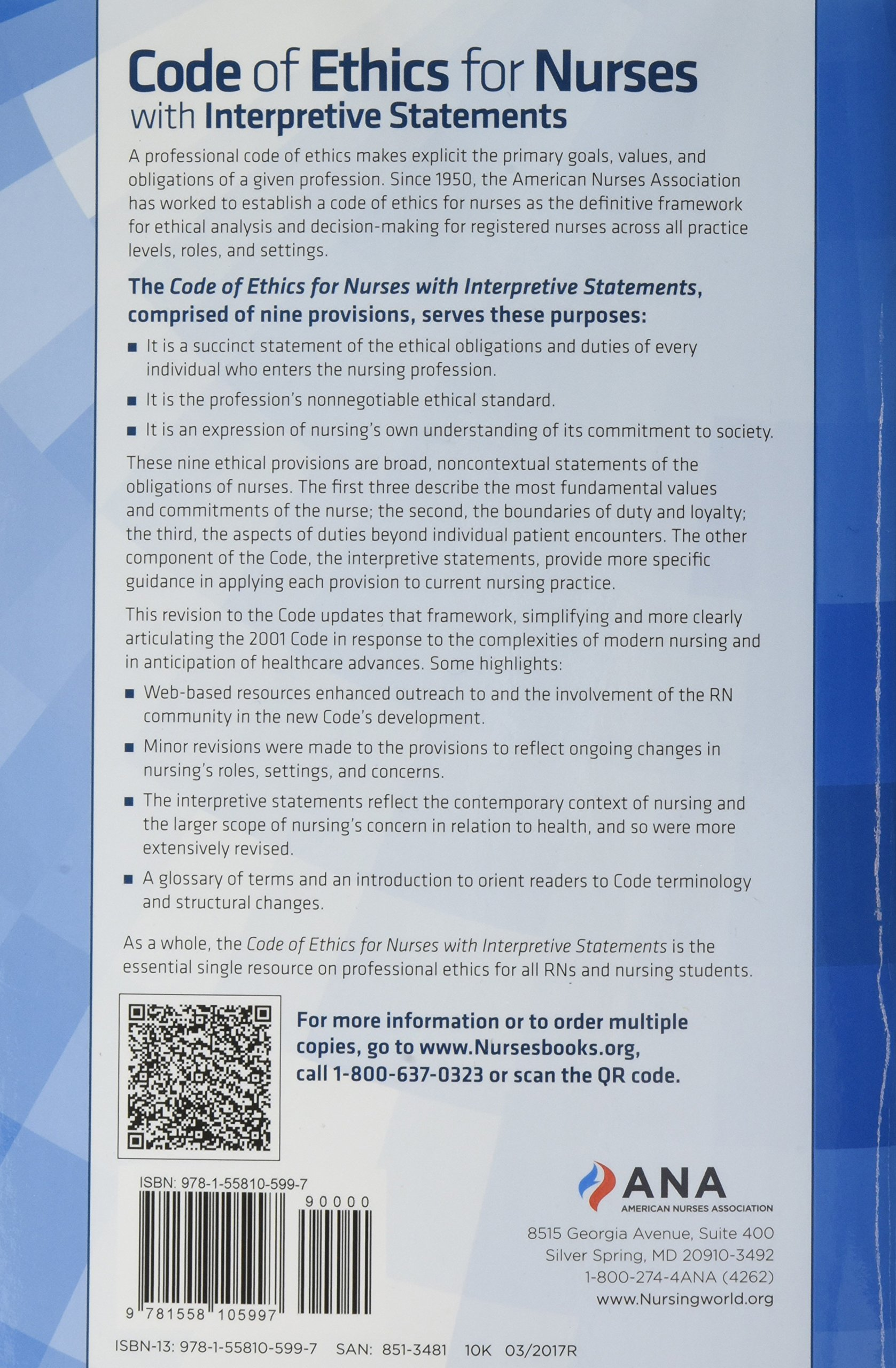 Code of Ethics for Nurses with Interpretive Statements by Amer Nurses Assn