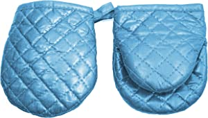 ARCLIBER Mini Oven Mitts,2 Pack of Quilted Cotton Lining Children Mitts- Little Oven Gloves for Cooking, Non-Slip Grip,5 x 5.7 Inches - Heat Resistant Pot Holder,Ocean Blue