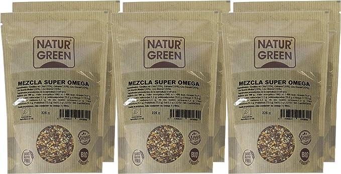NaturGreen Mezcla Super Omega ecológica -Pack de 6 unidades de 225 gr: Amazon.es: Alimentación y bebidas