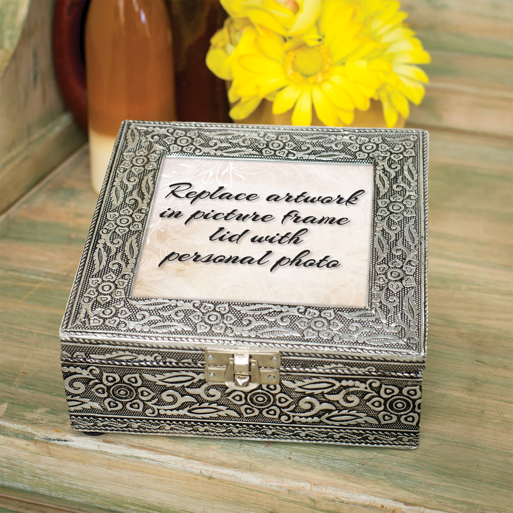 Cottage Garden Sister Together Always in Heart Silver Stamped Metal Jewelry Music Box Plays Tune That's What Friends are for by Cottage Garden (Image #7)
