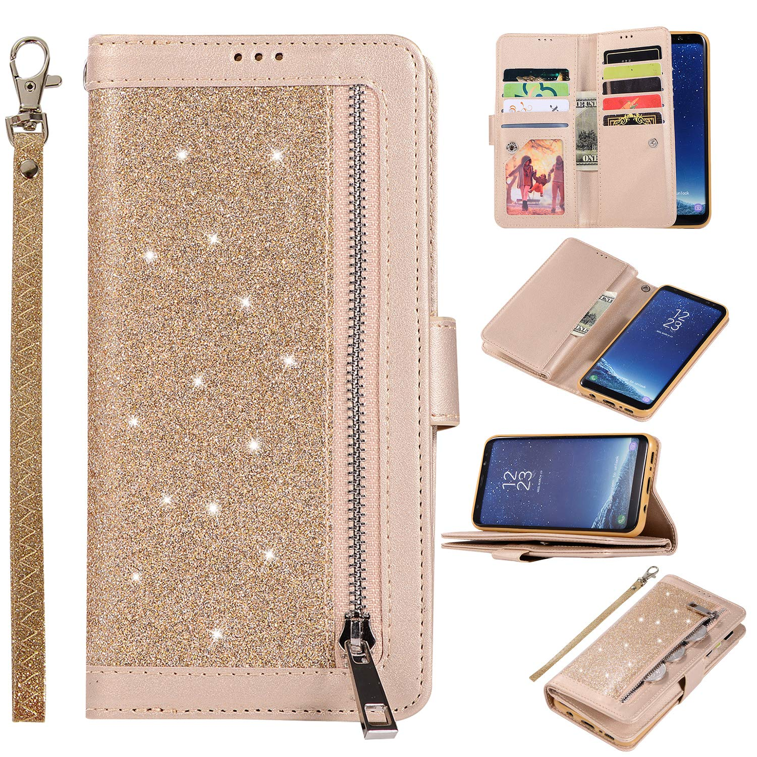 Shinyzone Glitter PU Case for Samsung Galaxy S8 Plus,Wallet Leather Flip Case with Zipper Pocket,Bling Cover with 9 Card Holder and Wrist Strap Magnetic Stand Function,Gold