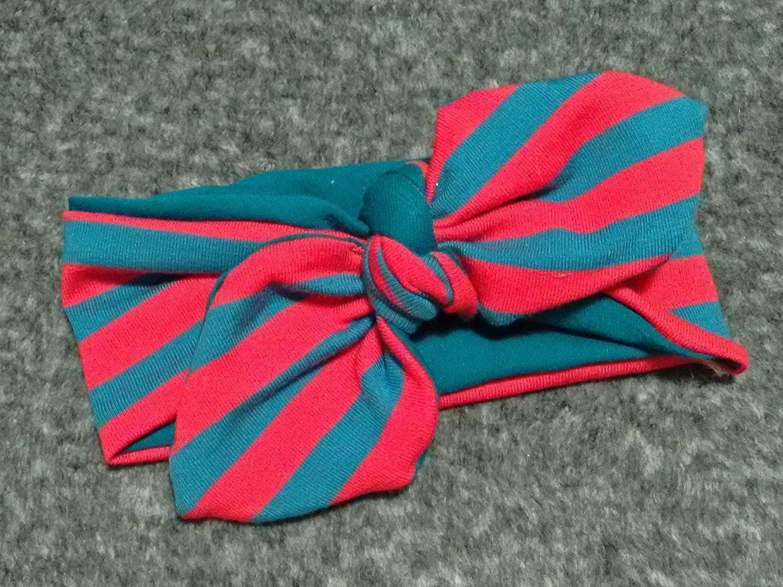 Haarband 'Rote Streifen' geknotet fü r Babys, Kleinkinder und Mamis *Handarbeit* (5 Grö ß en verfü gbar)