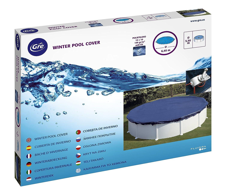 Gre CIPR651 Bâche Hiver pour Piscine Ronde, Bleu, 730 x 730 x 0.2 cm