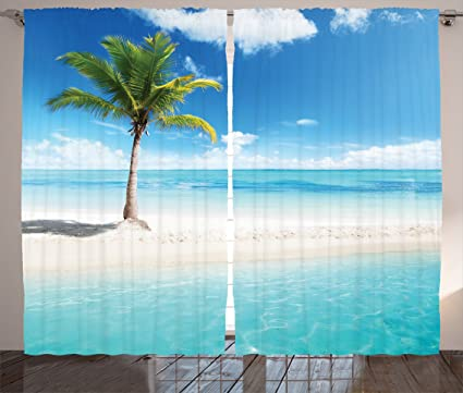 Ambesonne Ocean Curtains Idyllic Scenery Seashore Picture Sun Rays View With Palm Tree Tropical Beach