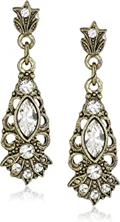 product image for 1928 Jewelry Gold-Tone Crystal Drop Earrings