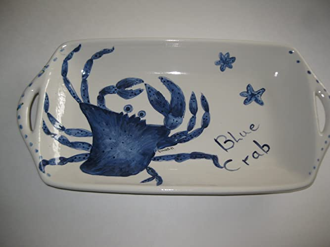Christmas Tablescape Décor - Handmade White Bisque Blue Crab Handled Platter - Made in Florida, USA by Ceramics Created 4 You
