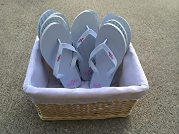Amazon.com: Bulk Wedding Flip Flops with Basket - Sandals By Weddyz ...