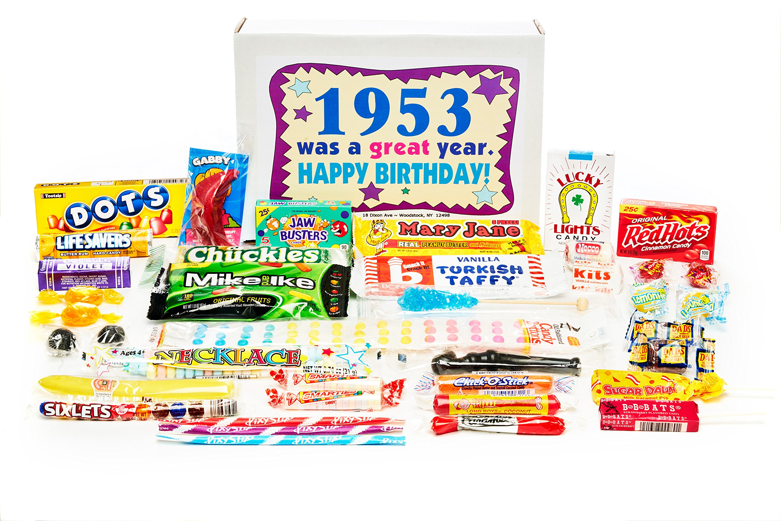 Woodstock Candy 1953 65th Birthday Gift Box Nostalgic Retro Mix From Childhood For 65
