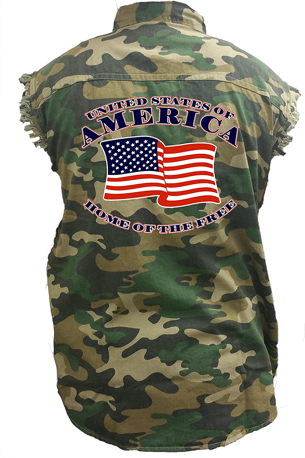 Home of The Free Denim Vest Mens Camo Sleeveless Denim Shirt United States of America
