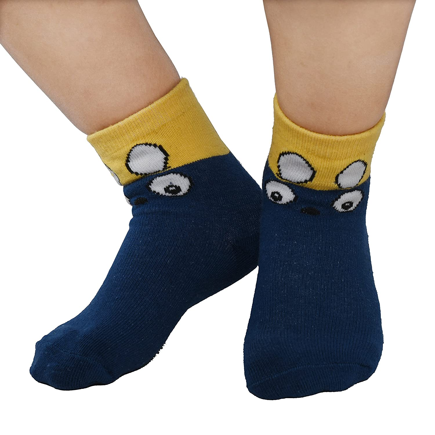 Kids Cotton Novelty Cute Animals Seamless Toddler Kids Socks 5 Pack Multicolor03, Large//Suggest Age 6-8 years