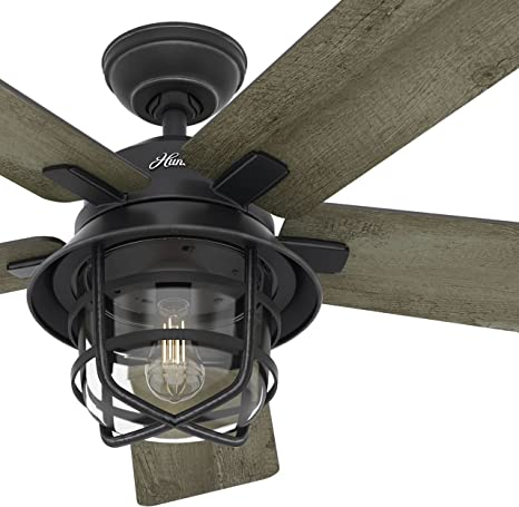 Amazon Com Hunter Fan 54in Weathered Zinc Outdoor Ceiling Fan With A Clear Glass Led Light Kit And Remote Control 5 Blade Renewed Home Kitchen
