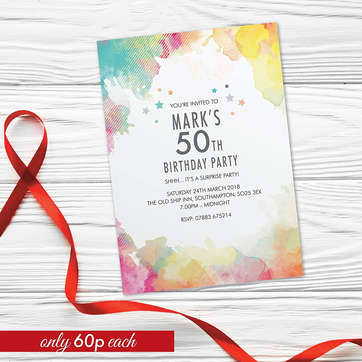Personalised Surprise 50th birthday party invitations for women for men cards invites 10 Pack