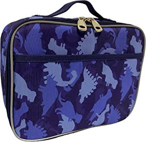 Lunch Box for Boys, Girls by Fenrici, Kids Insulated Lunchbag, Perfect for Preschool, K-6, Soft Sided Compartments, Spacious, BPA Free, Food Safe,10.8in x 9.2in x 3.8in (Blue Dinosaur)