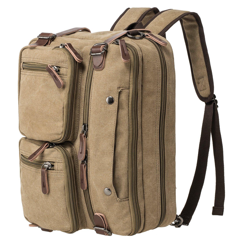 HIKA Vintage 3-Way Convertible Briefcase Laptop Backpack Messenger Bag Backpack-Vintage Khaki by HIKA (Image #1)