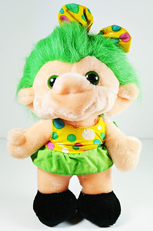 Amazon Com Troll Doll Plush In Polka Dot Dress Green Hair Green