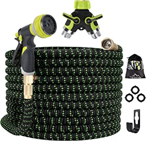 Gpeng Expandable Garden Hose, Water Collapsible Hose Garden Hose Splitter 8 Function Spray Nozzle, Durable 3-Layers Latex Core with 3/4