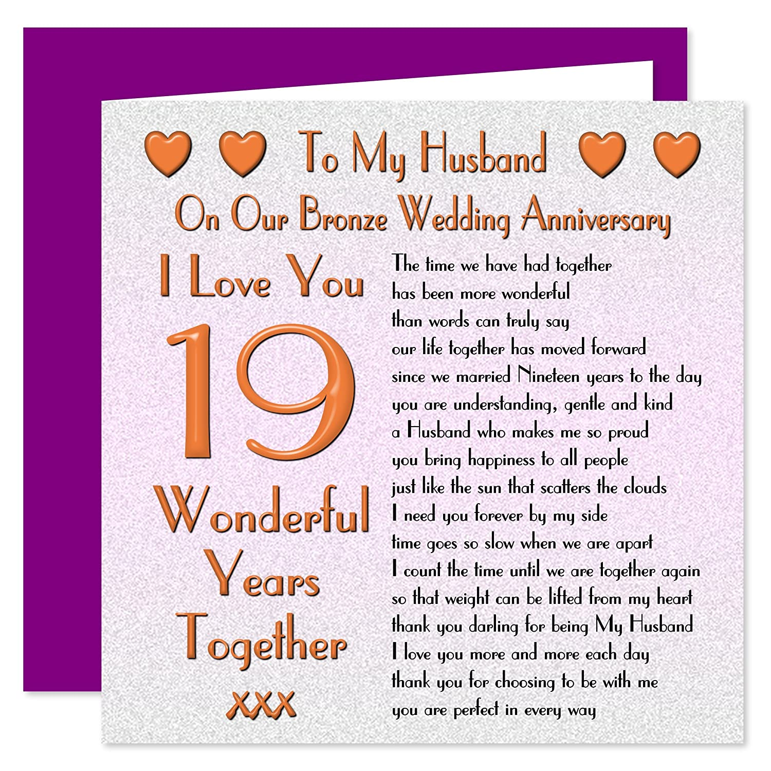 My Husband 19th Wedding Anniversary Card On Our Bronze Anniversary