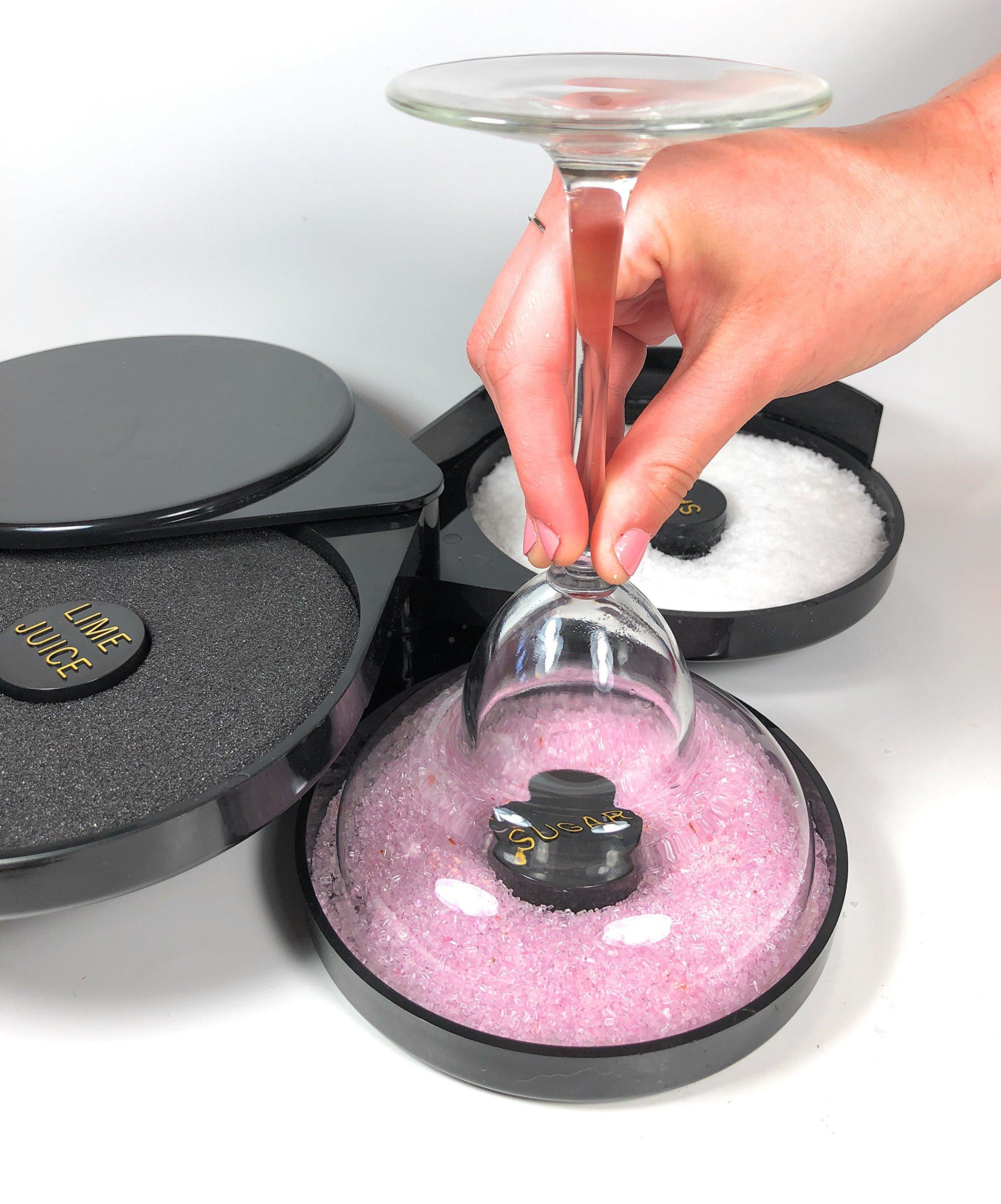 Margarita Salt Glass Rimmer BUNDLE - Bar Quality Rimmer, 8oz Margarita Salt Container, 3 Replacement Sponges | Perfect for Margaritas & Cocktails | 3-Tier Rotating Trays Salt Sugar Lime Juice SUMMIT by SUMMIT Salt Rimmer Bundle (Image #9)