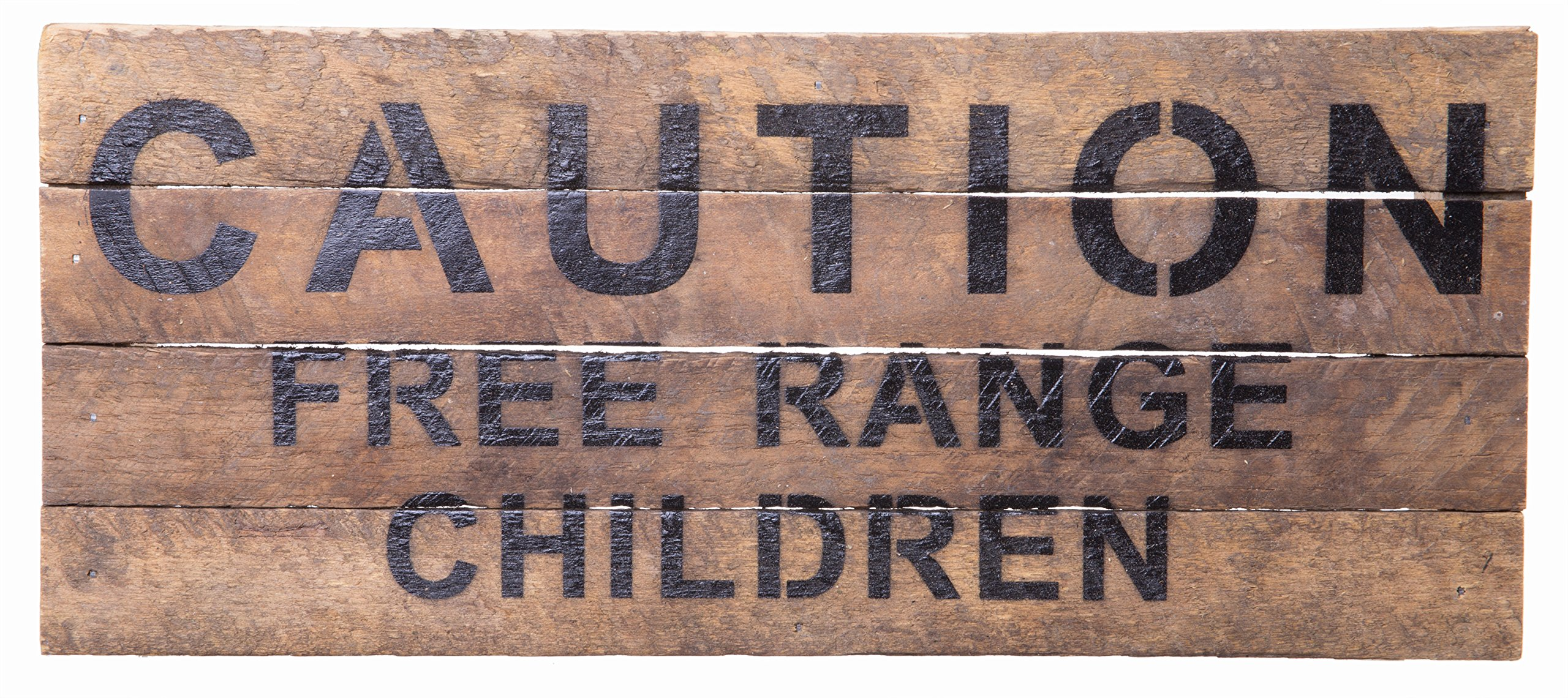 Second Nature By Hand Caution Free Range Children - Reclaimed Pallet Wood Wall Art, Handcrafted Decorative Plaque, 14'' x 6''