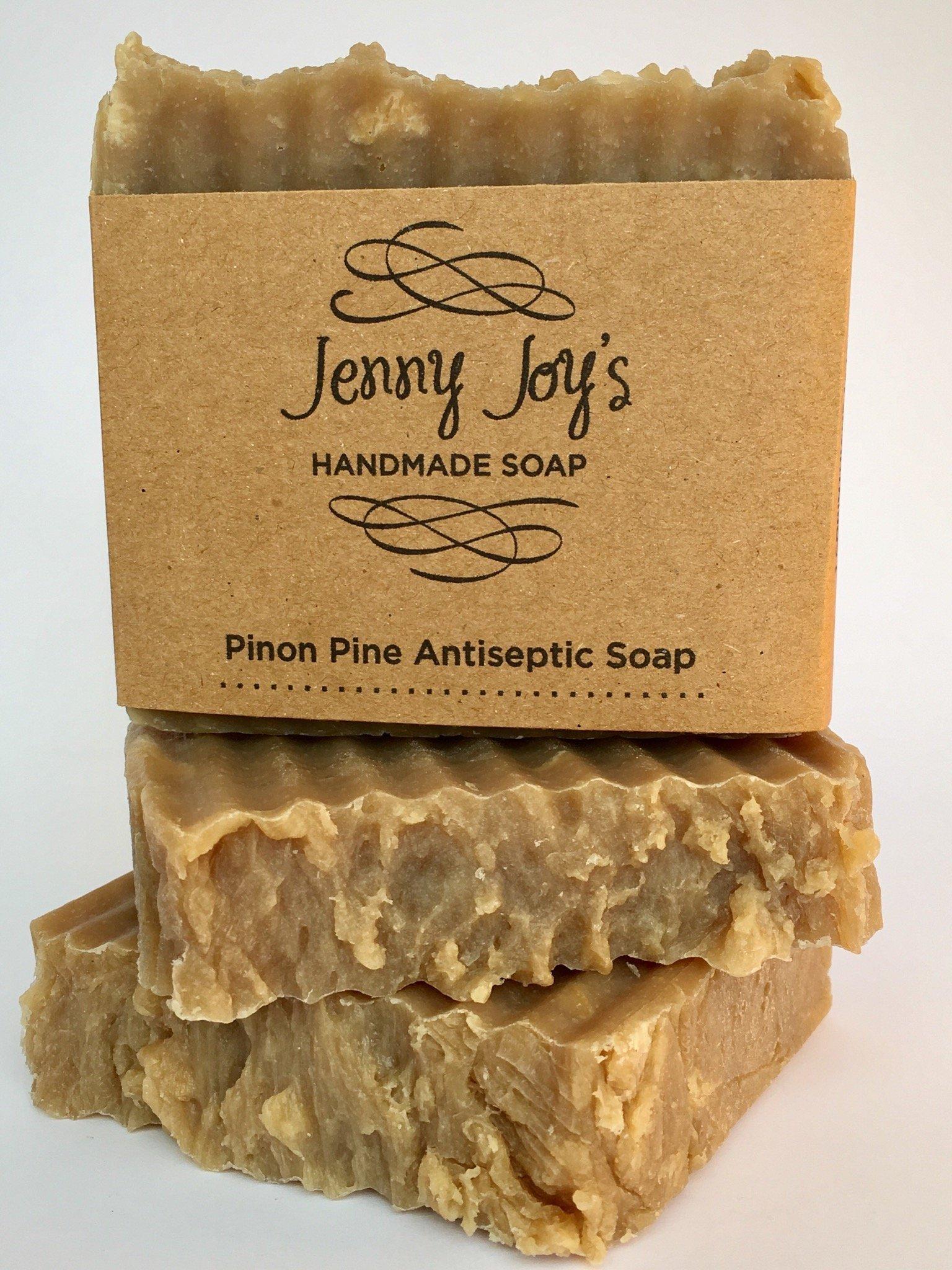 Jenny Joy's Soap Pine Tar Soap of Pinon Wild Harvested for Men & Women Woodsy Scent Skin Scrub, Moisturizes & Soothes Dry Skin, Psoriasis, Bug Bites & Eczema Handmade 5-6 oz. Bar Southwest Healing