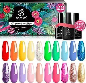Beetles Pack of 23 Rainbow Summer Gel Nail Polish Kit, Soak Off LED Lamp Gel Nail Polish Set Glitter Nude Gel Polish Starter Kit with Glossy & Matte Top Gel Base Coat Kaleidoscope Collection Nail Art