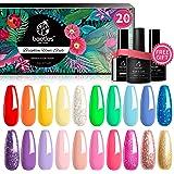 Beetles Pack of 23 Rainbow Summer Gel Nail Polish Kit, Soak Off LED Lamp Gel Nail Polish Set Glitter Nude Gel Polish…