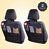 EcoNour Seat Back Protectors for Kids - Car Kick Mats with 2 Mesh Pockets | Premium Waterproof Fabric, Reinforced…