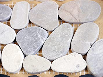 Mosaïque Frise Galets Gris clair lisse 10 x 30 x 0,8 cm, rivière ...