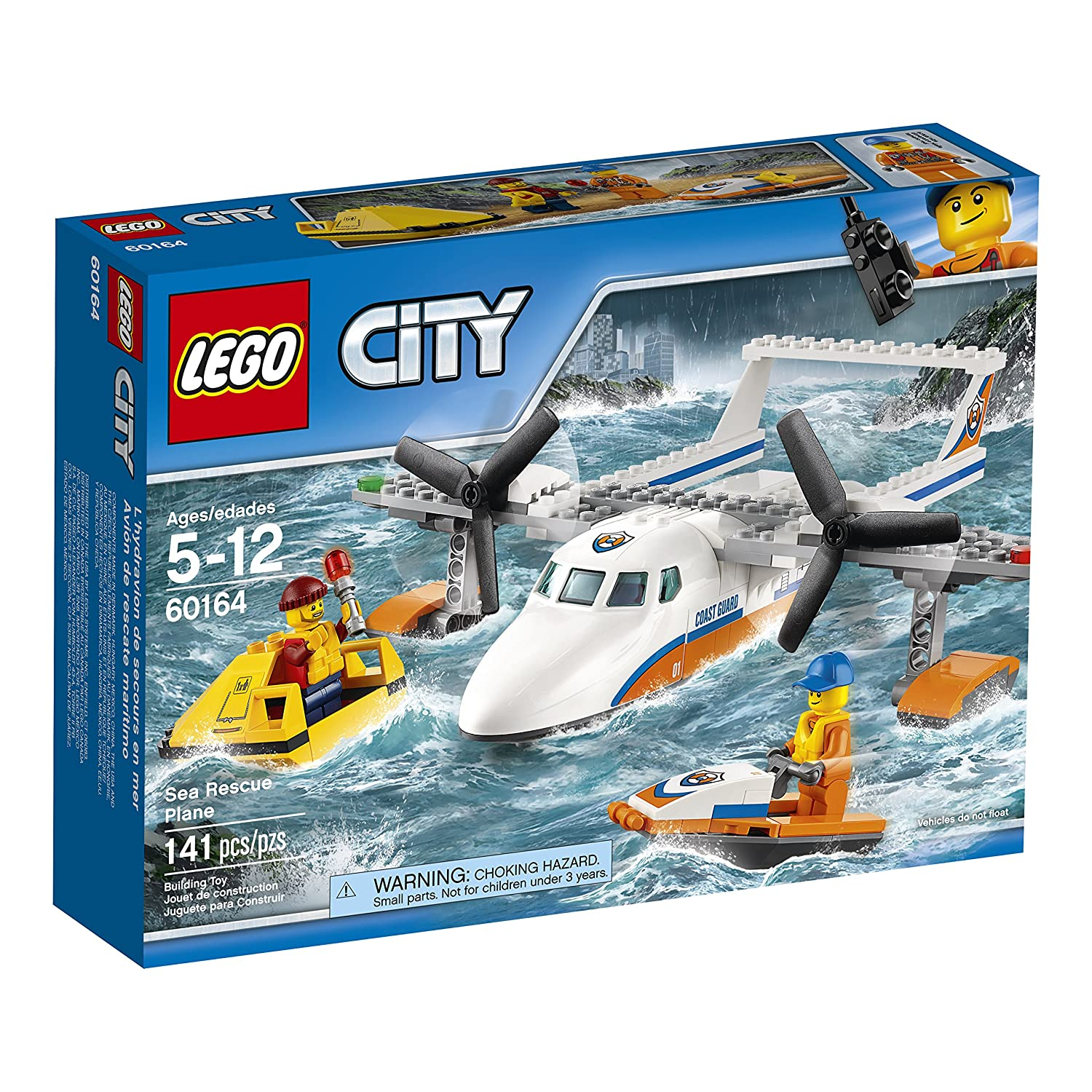 Lego City Coast Guard Sea Rescue Plane Building Kit 141 Piece