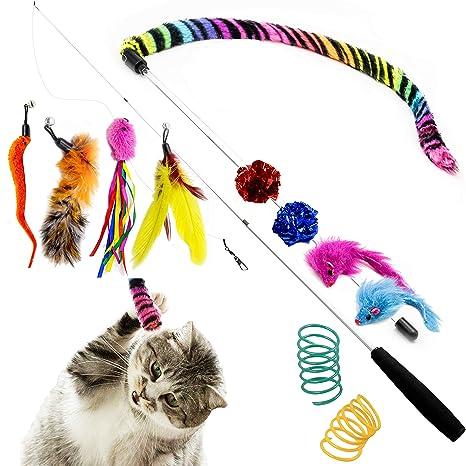 Amazon.com: Juguete de plumas para gatos Youngever con ...
