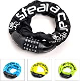 all lemon Bike lock with numerical code and extra strong chain Combination lock with 90 cm length and 5-digit security code