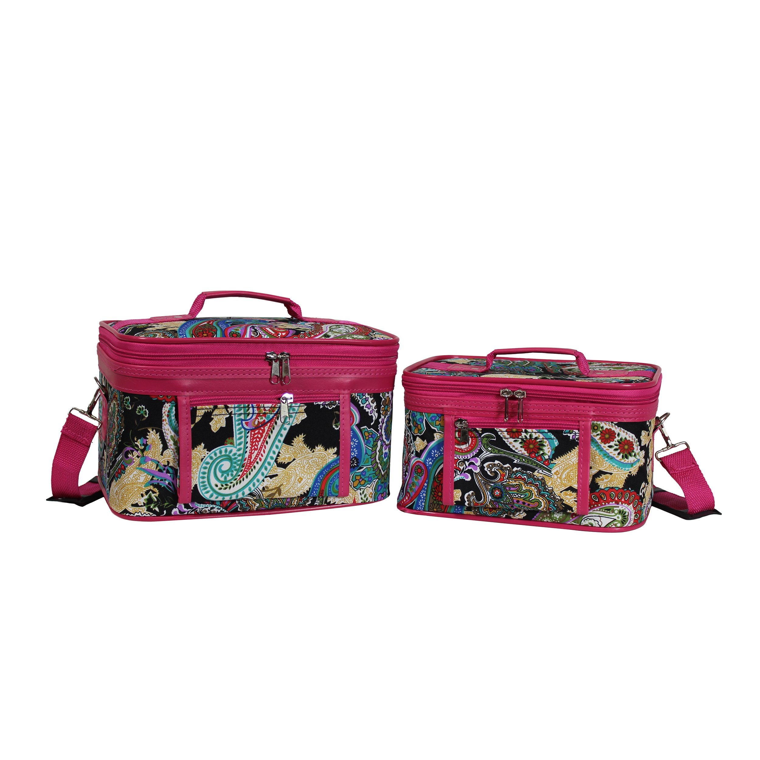 World Traveler Women's 2-Piece Cosmetic Case Set, Pink Trim Multi Paisley