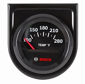 "Bosch SP0F000049 Style Line 2"" Electrical Water/Oil Temperature Gauge (Black Dial Face, Black Bezel)"
