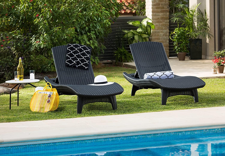 Keter Pacific Rattan Outdoor Adjustable Sunlounger Garden Furniture Set    Graphite: Amazon.co.uk: Garden U0026 Outdoors