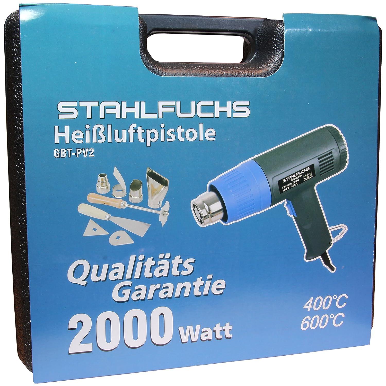 STAHLFUCHS Hei/ßluftpistole mit Koffer und Zubeh/ör 2000 Watt 2 Stufen 400/°C 600/°C Hei/ßluftf/ön Hei/ßluftf/öhn Hei/ßluftgebl/äse Hei/ßluft F/ön F/öhn Gebl/äse