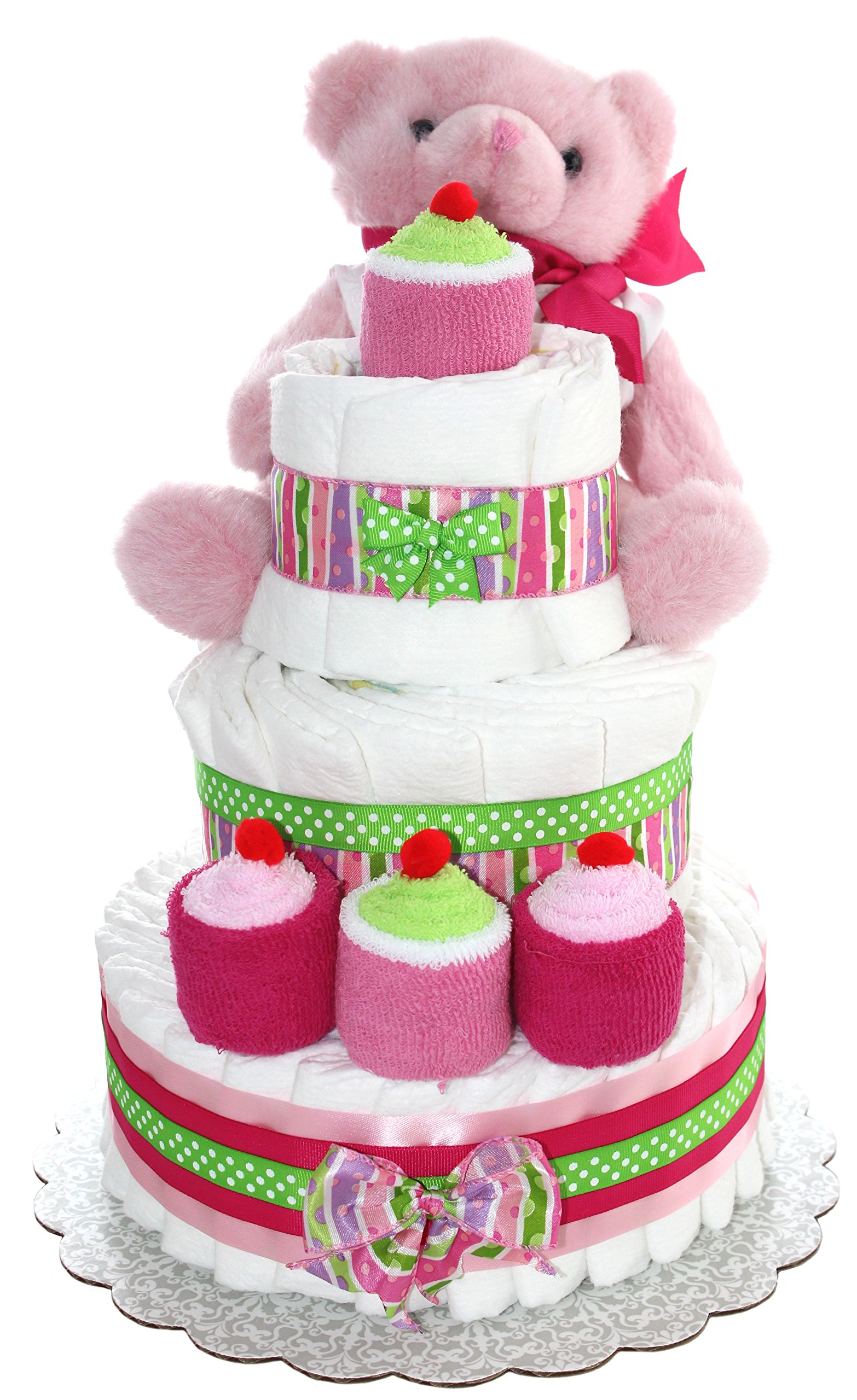 3 Tier Diaper Cake - Pink Teddy Bear Diaper Cake For Girl - Baby Gift For Baby Shower - Teddy Bear Theme - Diaper Cake Is Decorated With Cupcakes Made Out Of Newborn Socks And Washcloths (Pink)
