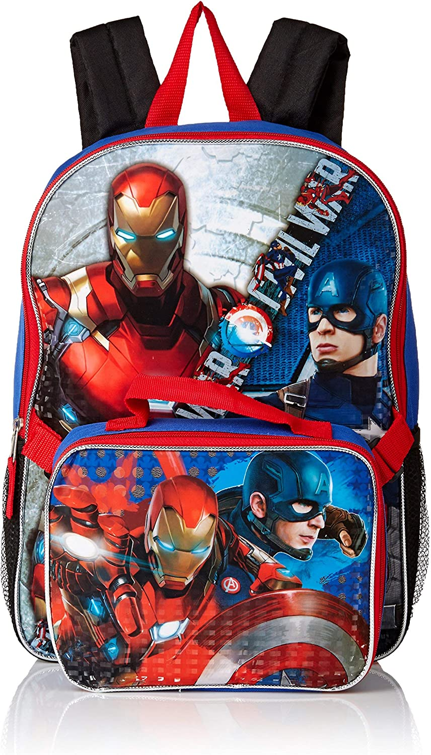 Marvel Avengers Backpack with Lunchbox 7 PC Set Avengers School Supplies