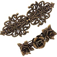 2Pcs Retro Vintage Metal French Barrette Clip Hair Clasp Roses Bronze Accessories