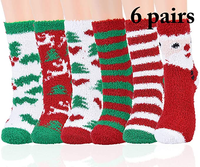 69ae0c54e7b Image Unavailable. Image not available for. Color  Aniwon Fuzzy Christmas  Socks