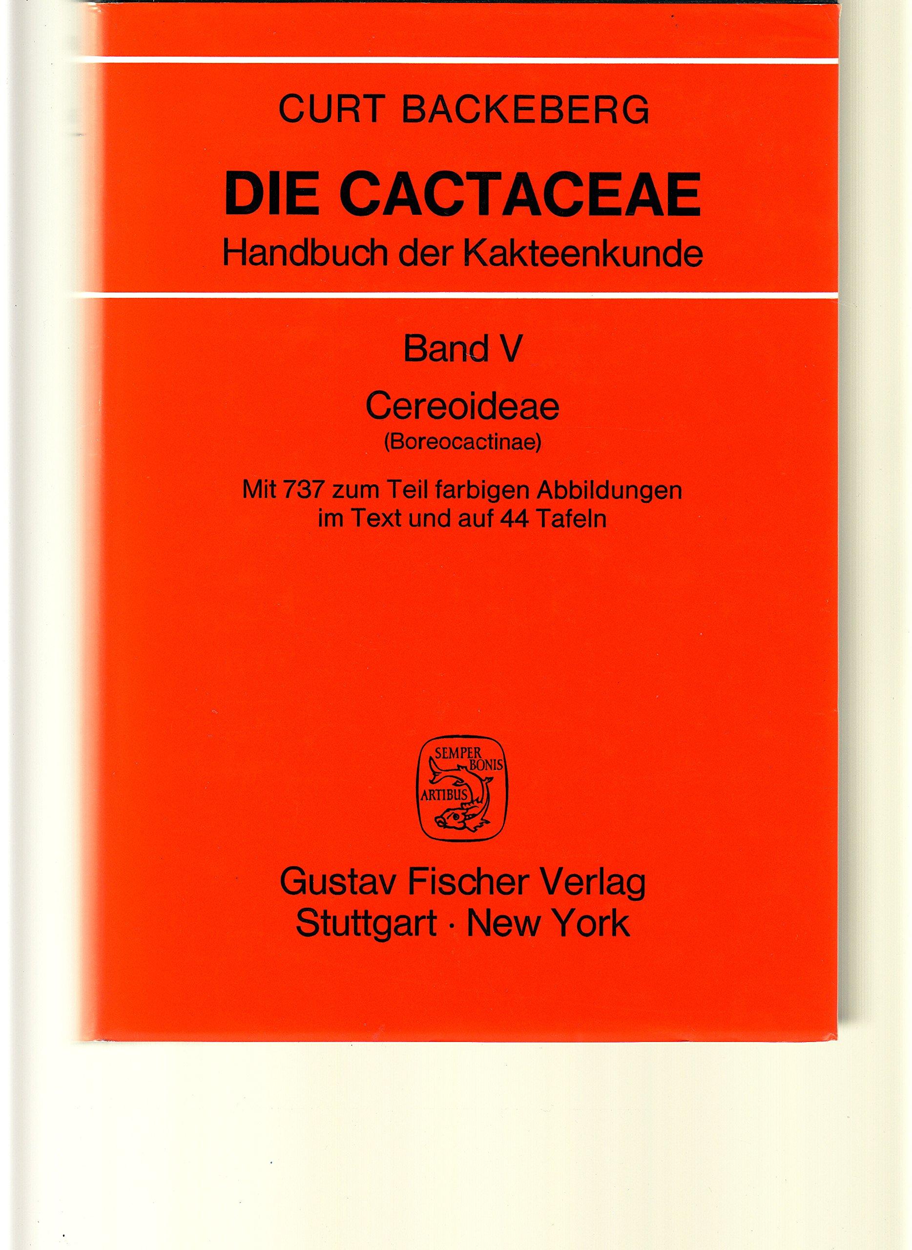 Die Cactaceae Handbuch Der Kakteenkunde : Cereoideae: Curt Backeberg ...