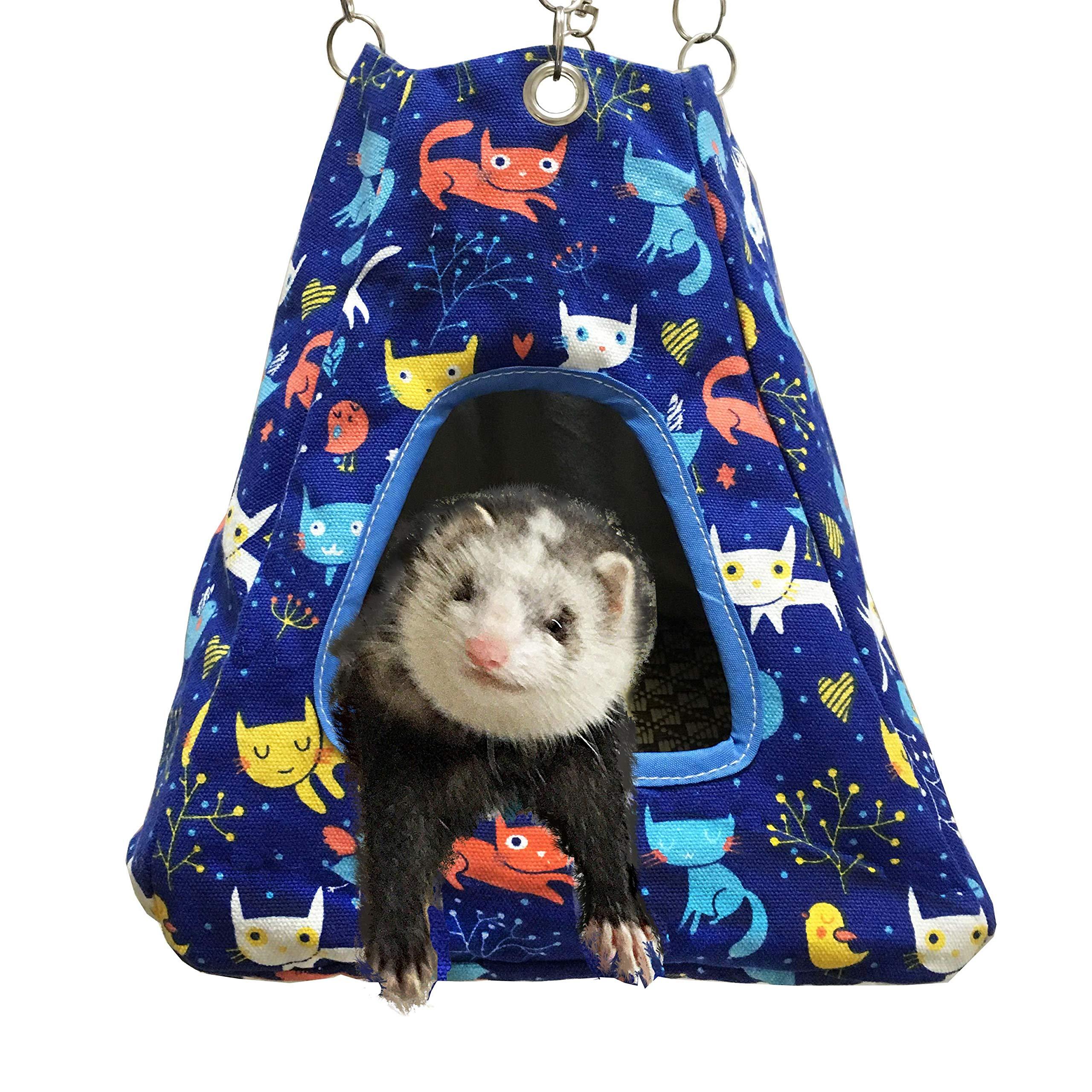 FULUE Small Animal Ferret Rat Guinea Pig Degu Gerbil Mice Hamster Chincilla Hammock Sleeper Cage Accessories (Blue Tent) by FULUE