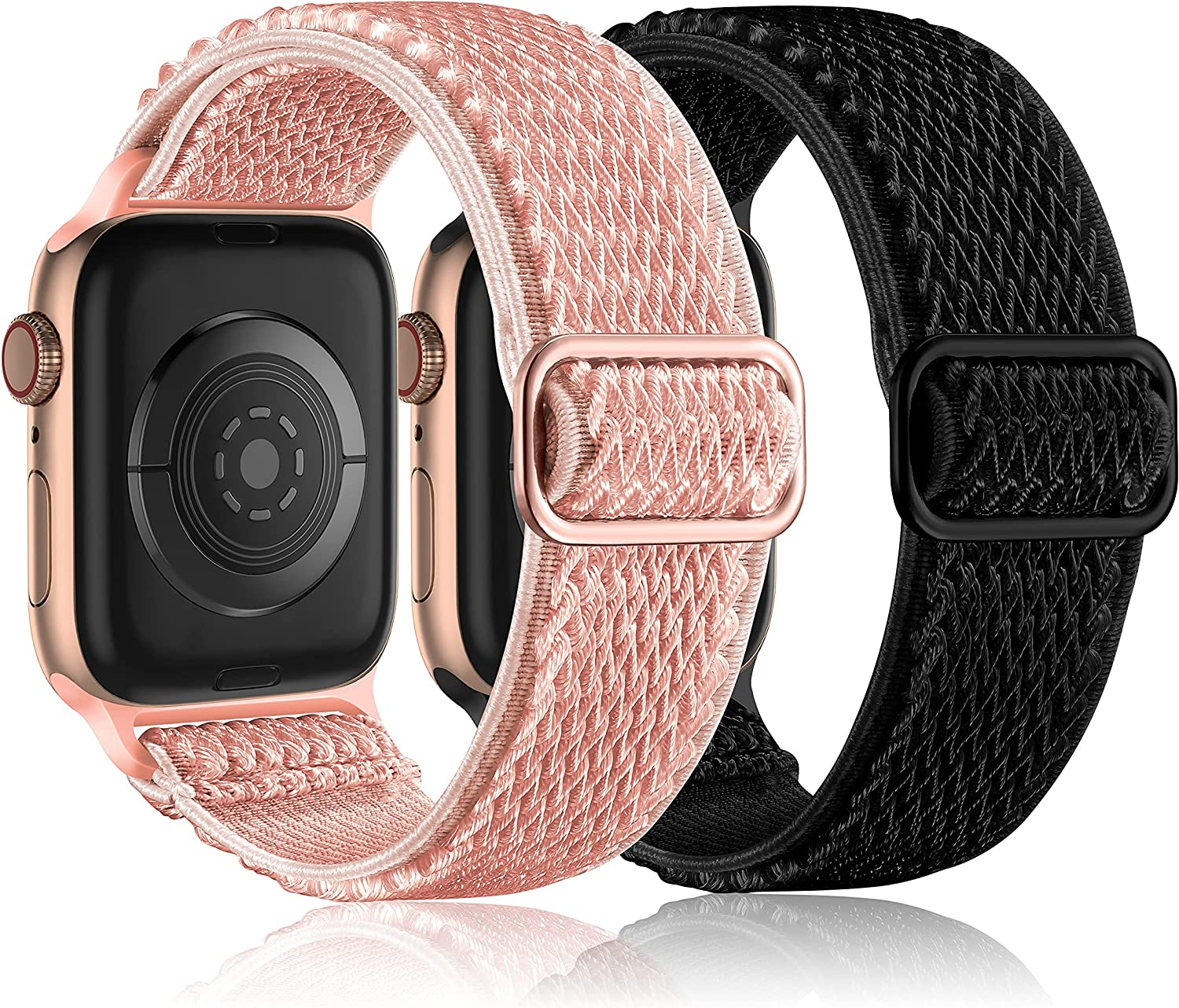 Witzon 2 Pack Compatible with Apple Watch Band 40mm 38mm 42mm 44mm for Women Men, Stretchy Solo Loop Strap Adjustable Nylon Elastic Sport Wrist Bands Designed for iWatch Series 6/5/4/3/2/1