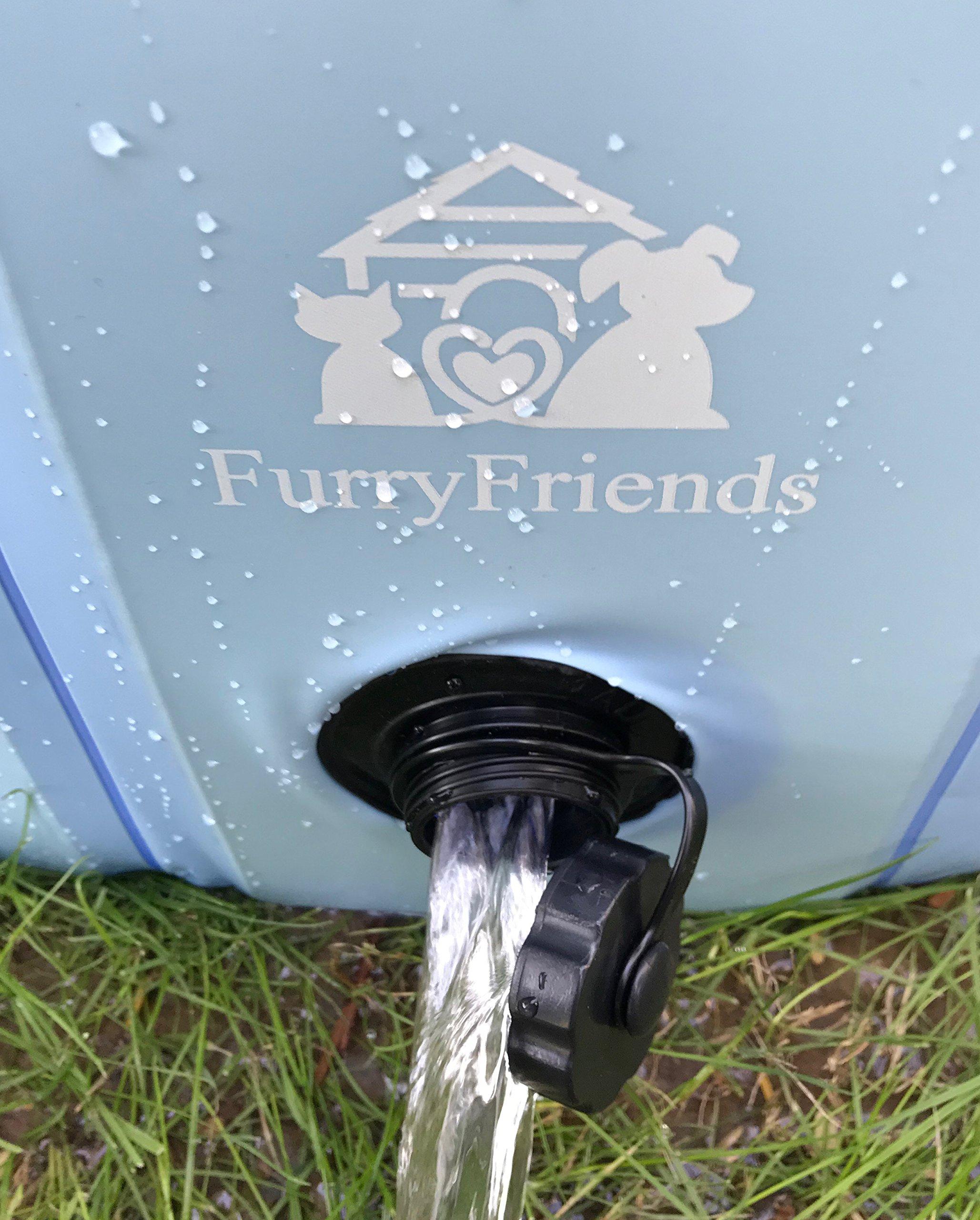 FurryFriends Foldable Dog Pool - Folding Dog / Cat Bath Tub - Collapsible Pet Spa - Large (50''x12'') - Blue