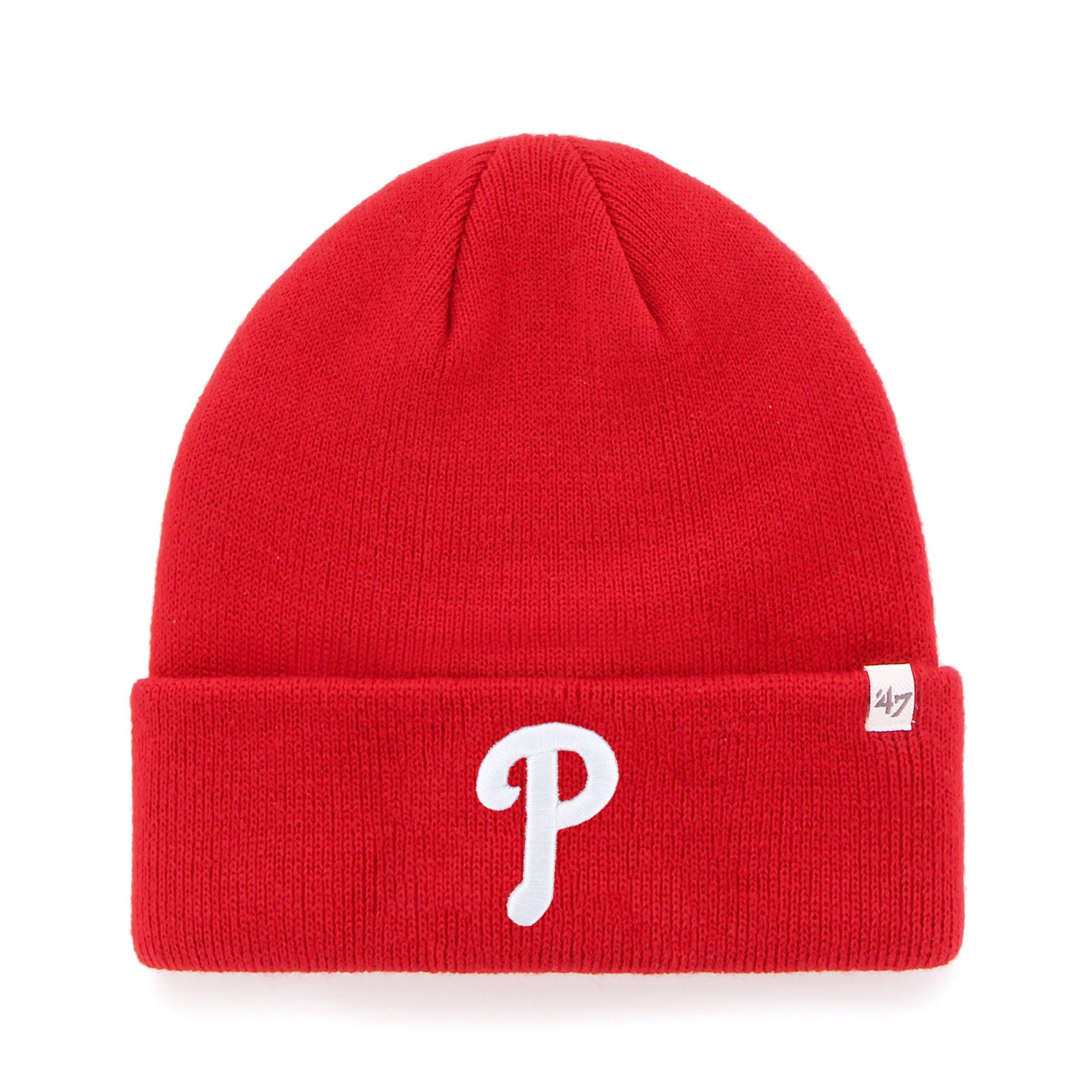 MLB Philadelphia Phillies '47 Raised Cuff Knit Hat, Red, One Size