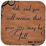 3dRose cst_150076_1 Bible Verse John 16-24 Brown