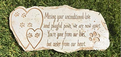 Sympathy Stones For The Garden Amazon pawprints remembered pet memorial stone marker for dog pawprints remembered pet memorial stone marker for dog or cat for outdoor garden backyard workwithnaturefo